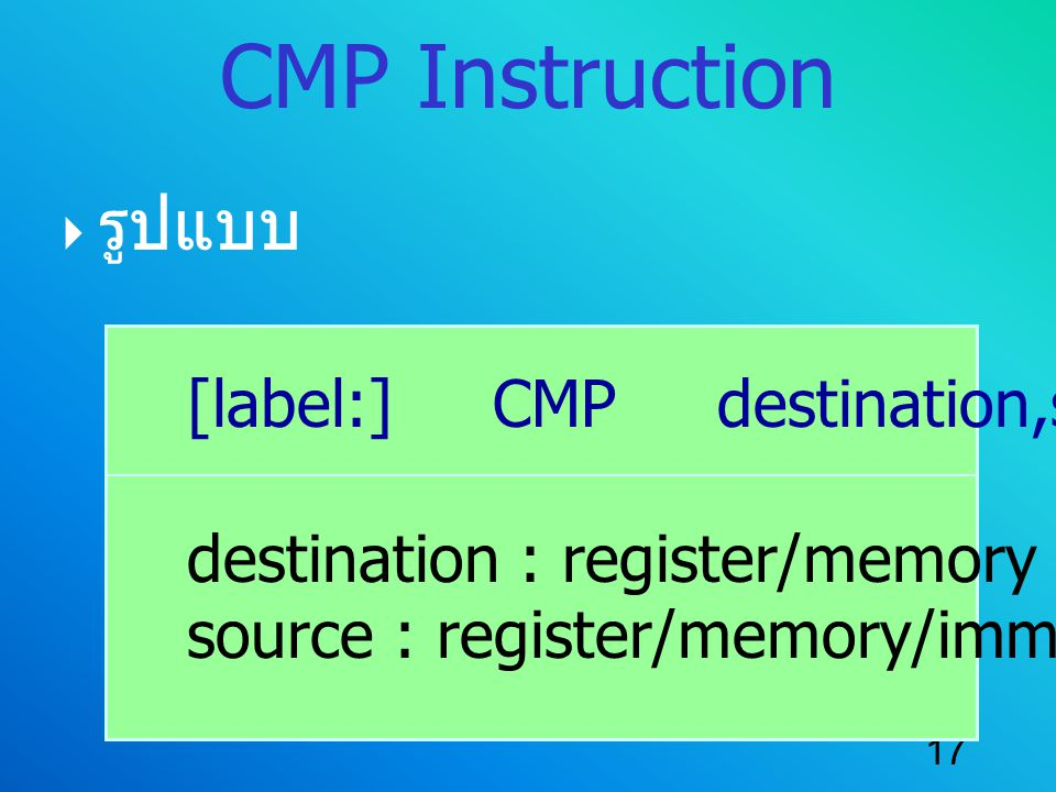 CMP Instruction รูปแบบ [label:] CMP destination,source